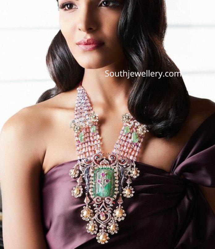 gemstones necklace with polki pendant