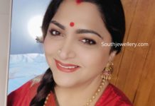 khushbu sundar in gold balls necklace set (1)