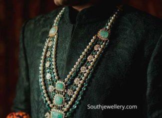 layered polki emerald mala by akoya