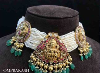 multi string pearl necklace with lakshmi pendant