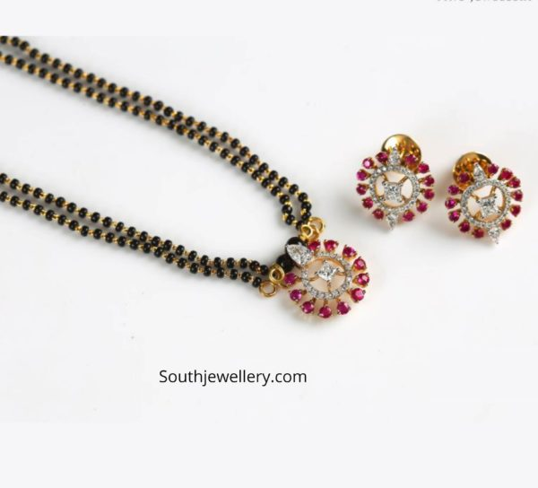 nallapusalu necklace with ruby diamond pendant