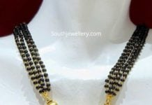 nallapusalu necklace with lakshmi gold pendant