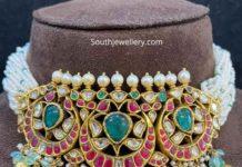 pearl choker with kundan pendant
