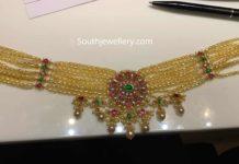pearl choker with kundan pendant 22k gold