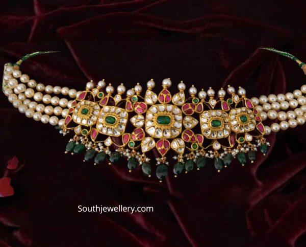 pearl choker with polki pendant