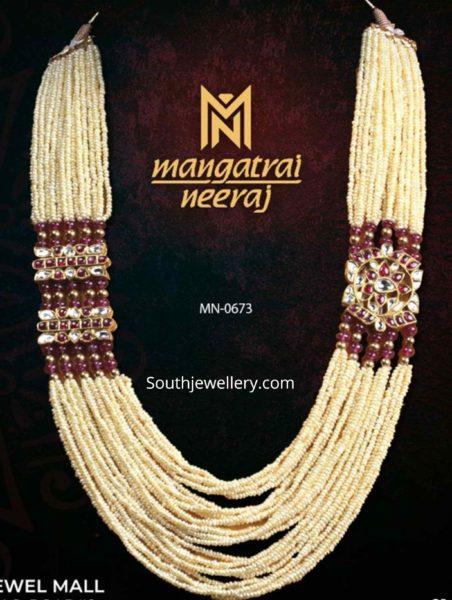 pearl long haram with kundan side pendants