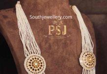 pearl long haram with polki side pendants