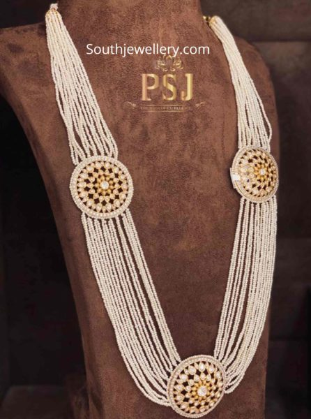 pearl long haram with polki side pendants