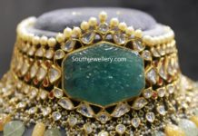 polki choker with carved emerald