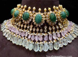 polki diamond and beads choker