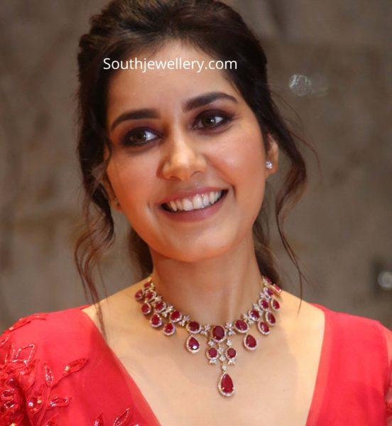 raashi khanna in ruby diamond necklace
