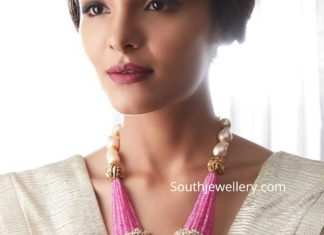 ruby beads necklace with polki pendant