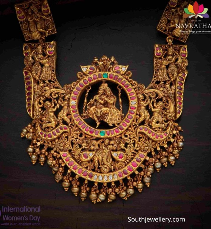 antique gold lord krishna 3d haram (1)