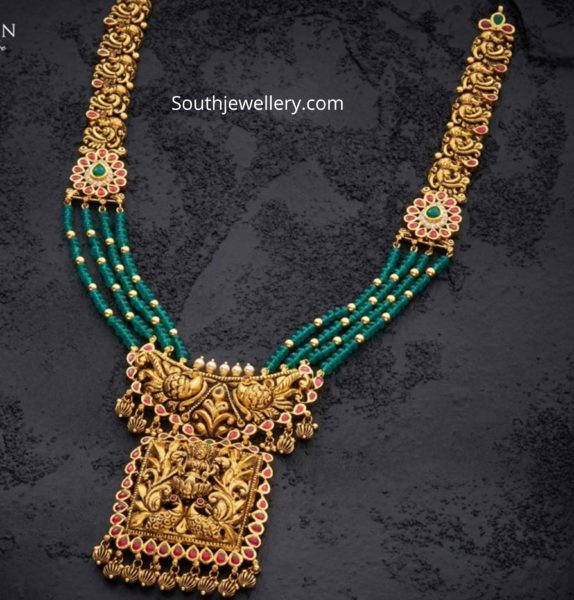 antique gold nakshi necklace with emerald beads