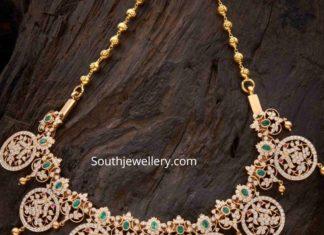 closed setting peacock diamond bottu necklace