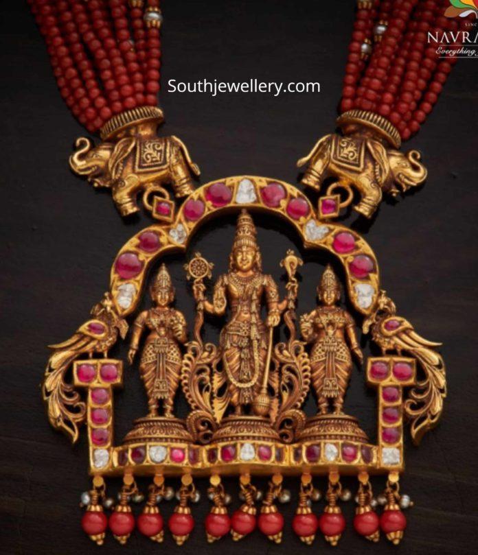 coral beads necklace with ram parivar pendant (1)