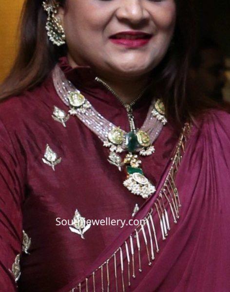 designer pink beads necklace