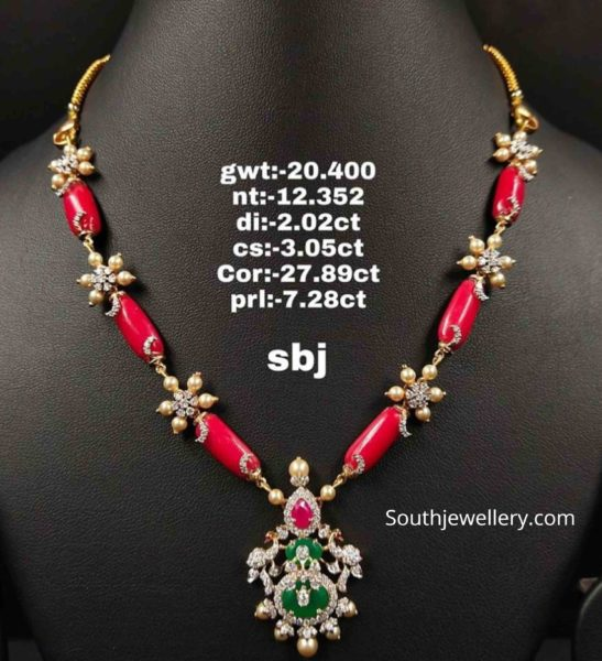 diamond and coral beads necklace