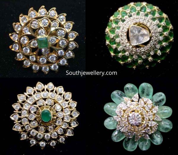 diamond and emerald big stud earrings