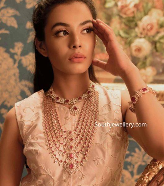 diamond emerald bridal jewellery set