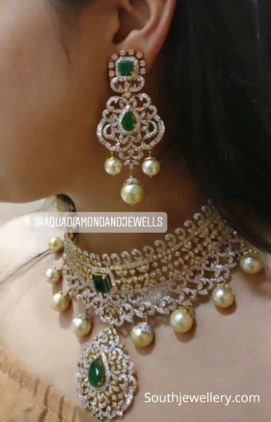 diamond emerald choker set