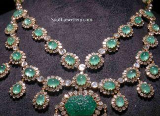 emerald and polki diamond necklace akoya jewels