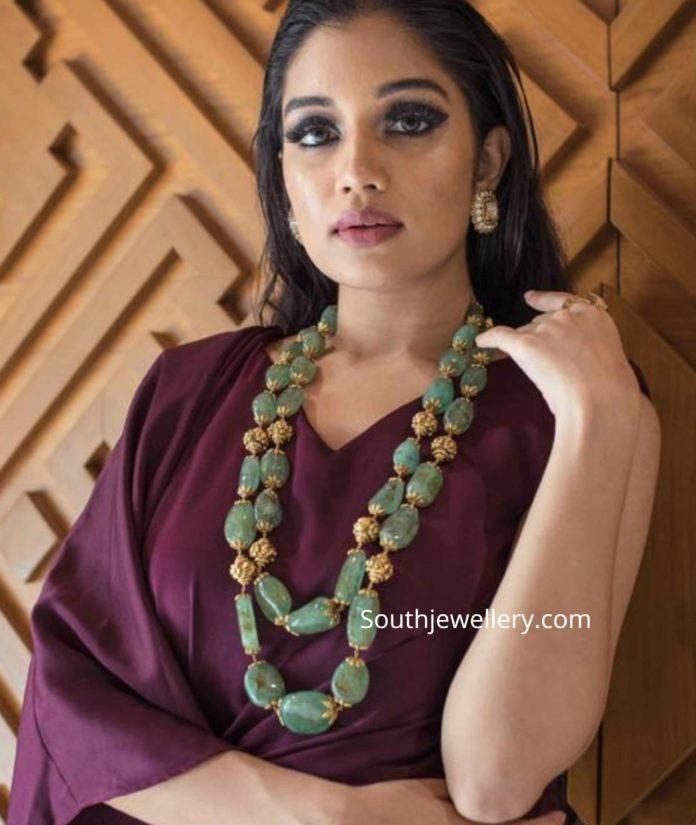 emerald beads and nakshi balls mala
