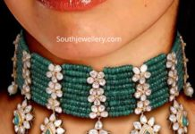 emerald beads and polki diamond choker