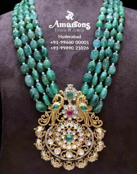 emerald beads jewellery designs