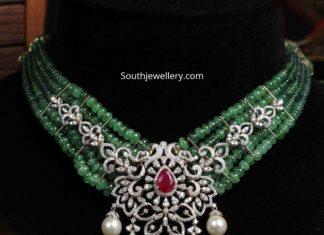 emerald beads necklace with diamond pendant