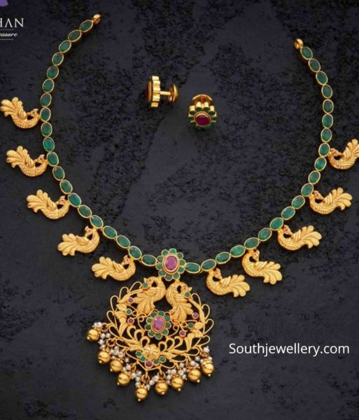 emerald peacock neclace by navrathan