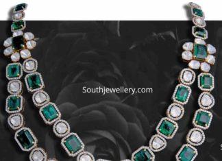 emerald polki pendant
