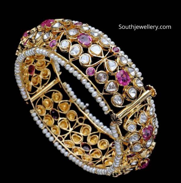 flat diamond broad gold kada