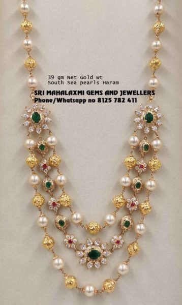 gold balls and pearl layered necklace