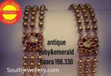 gold balls haram with ruby emerald pendant
