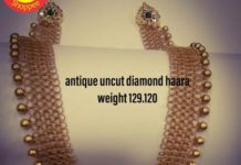 gold links necklace with kundan pendant