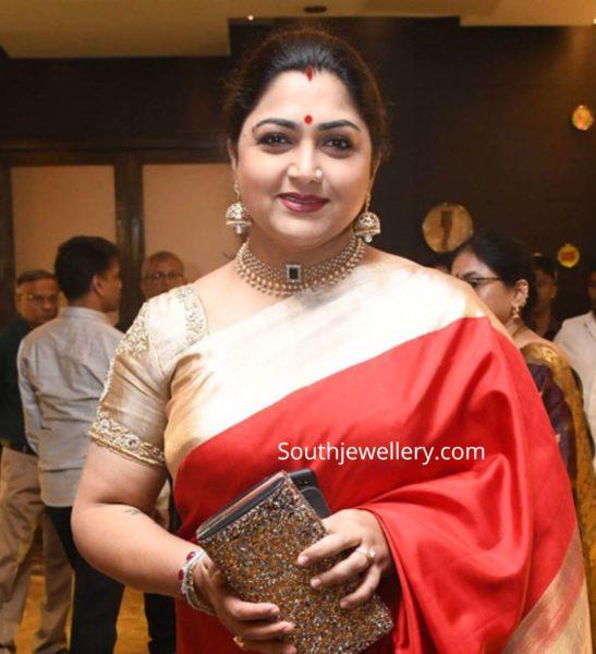 khushbu sundar in diamond pearl necklace and jhumkas