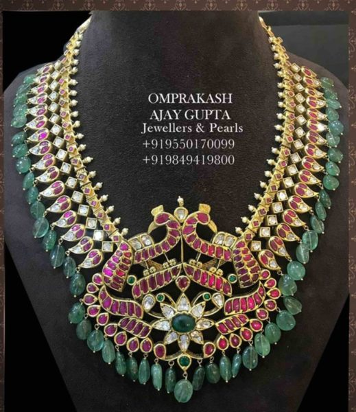 kundan peacock necklace with emeralds