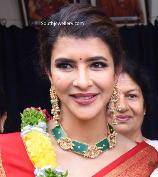 lakshmi manchu in emerald necklace