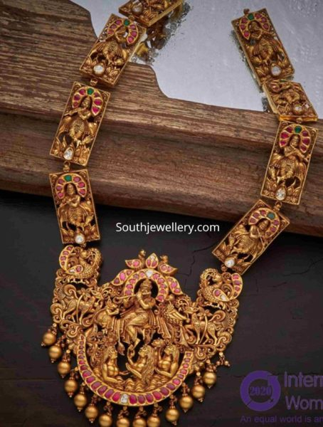 lord krishna antique gold haram