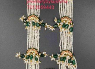 pearl haram with kundan pendant