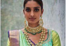 polki emerald jewellery set by kishandas