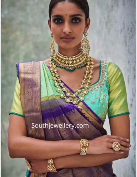polki emerald jewellery set by kishandas