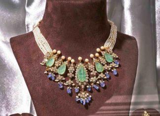 polki emerald necklace set parnicaa
