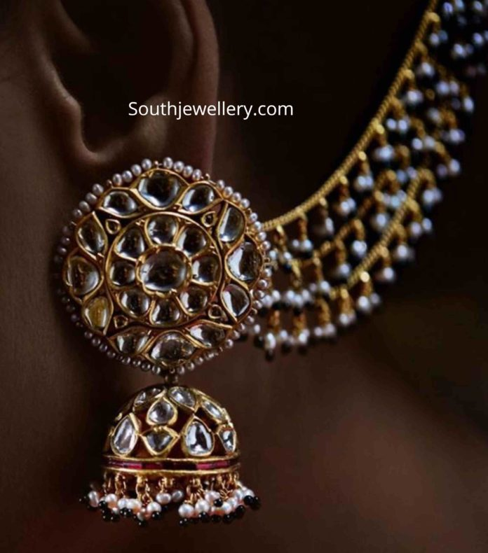 polki jhumkas with pearl ear chains