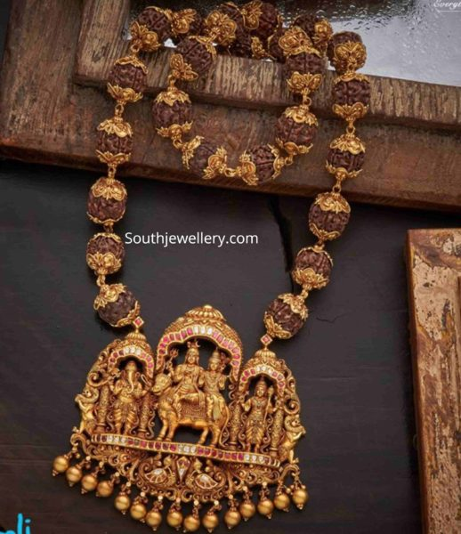 rudraksh beads necklace with temple pendant