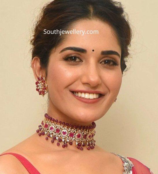 ruhani sharma in ruby diamond choker set