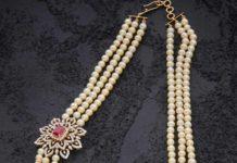 south sea pearl mala with diamond side pendant