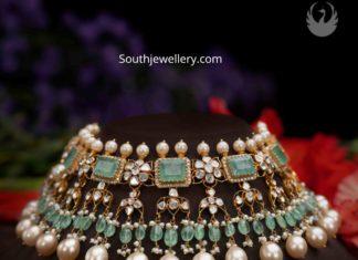 uncut diamond and emerald choker