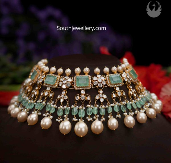 uncut diamond and emerald choker